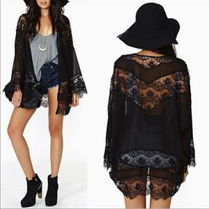 Black Lace and sheer mesh Short Open Front Kimono